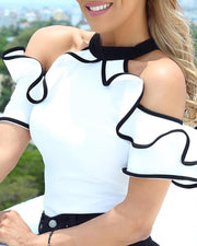 Contrast Binding Ruffles Cold Shoulder Top