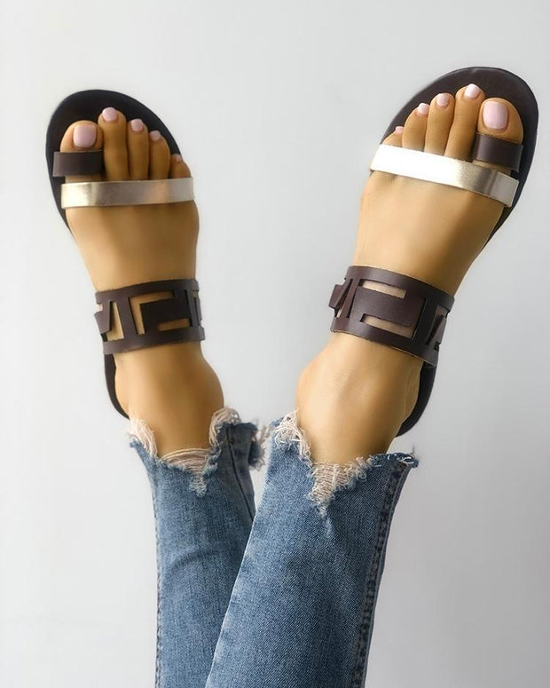 Two Tone Hollow Out Toe Ring Flat Sandals