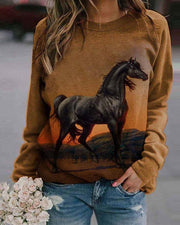 Horse Print Long Sleeve Blouse