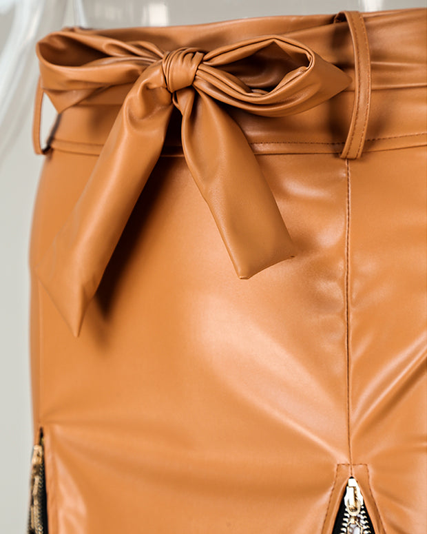 Faux Leather Zipper Detail  Mini Skirt