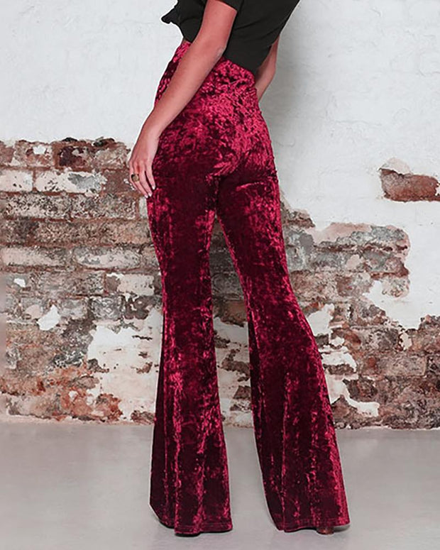 Solid Pleuche High Waist Wide Pants