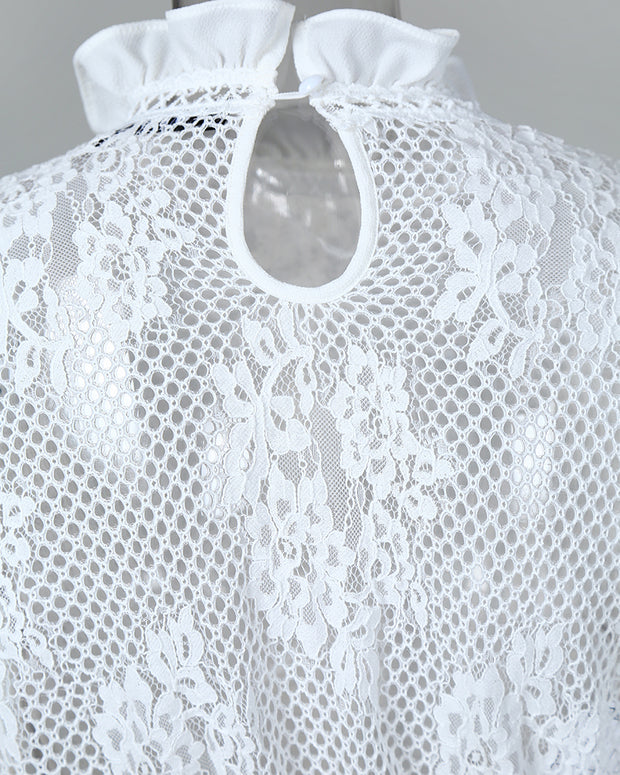 Hollow Out Lace Ruffles Trim Blouse