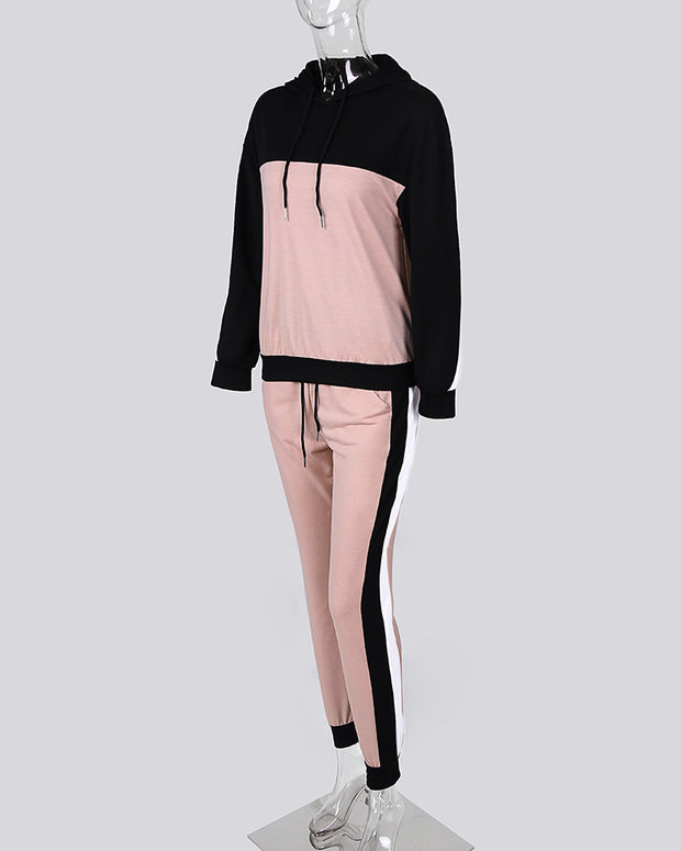 Colorblock Drawsting Design Hooded Top & Pant Sets