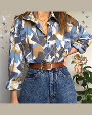 Retro Patterns Print Long Sleeve Loose Blouse