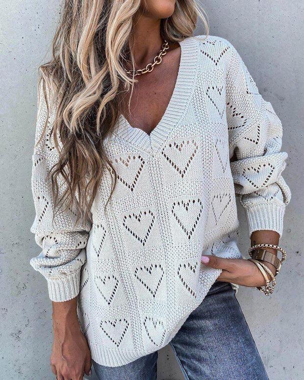 Heart Hollow Solid Color Long Sleeve Sweater