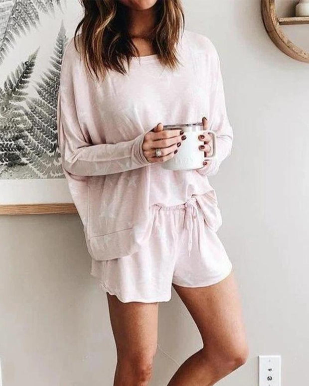 Comfy Print T-shirt Shorts Two-piece Sets