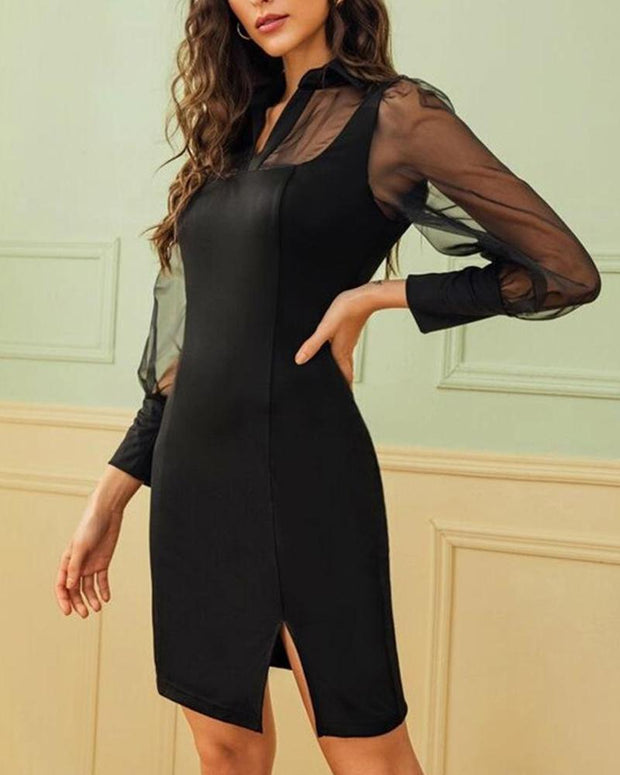 V Neck Mesh Insert Dress