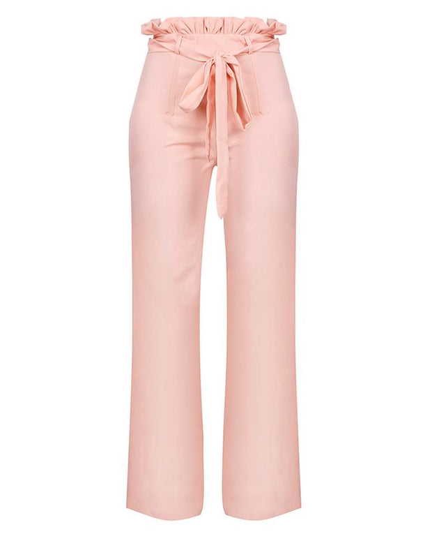 Frills Belted High Waisted Wide Leg Pants