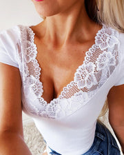 Crochet Lace Insert Ribbed Cut Out Back Blouse