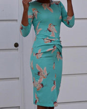 Floral Print Ruched Front Bodycon Dress