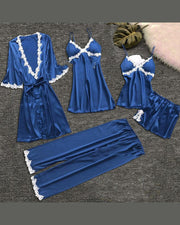 Eyelash Lace Cami & Robe 5PCS Set