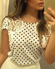 Dot Print Crochet Lace Insert Casual Blouse