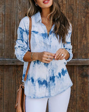 Tie Dye Long Sleeve Loose Button-down Blosue