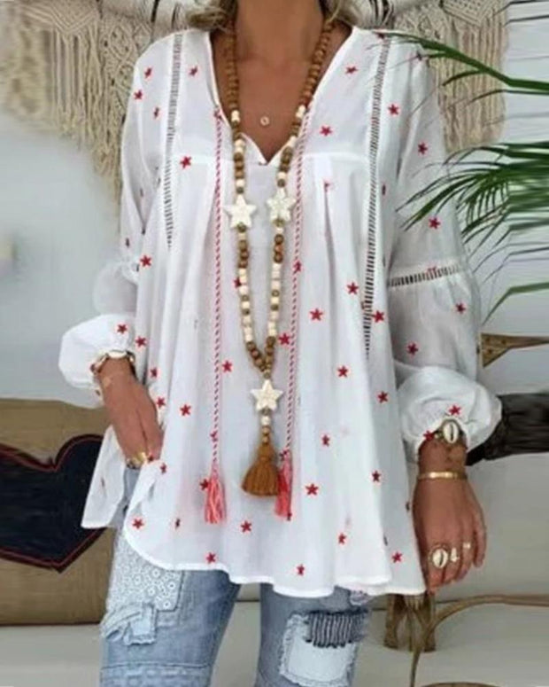 V-neck long-sleeved shirt lace stitching openwork printed blouses