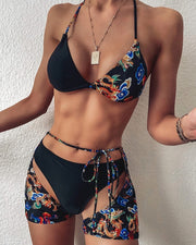 Halter Dragon Print 3PCS Bikini Set