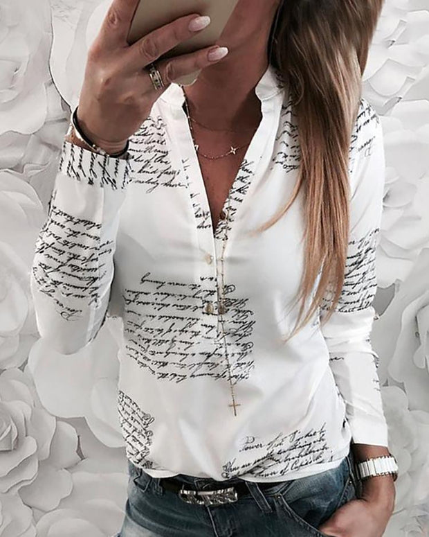Letter Print Button Design Casual Shirt