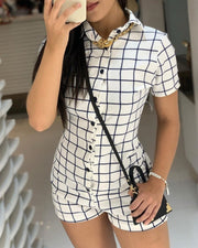 Bottoned Grid Short Sleeve Casual Romper