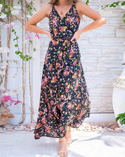 Daisy Print V Neck Maxi Dress