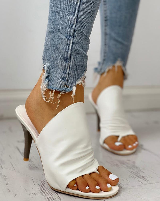 Solid Toe Post Thin Heeled Slingbaack Sandals