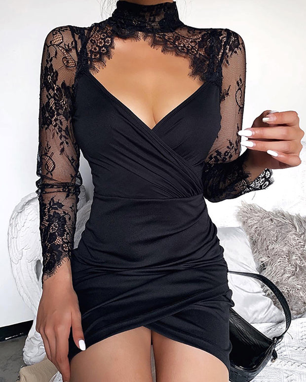Eyelash Lace Ruched Cutout Dress
