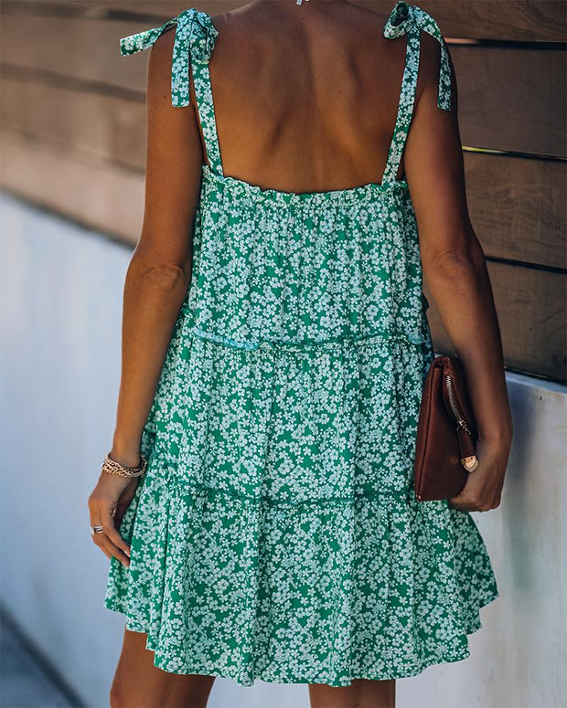 Floral Print Tie Strap Tiered Cami Dress