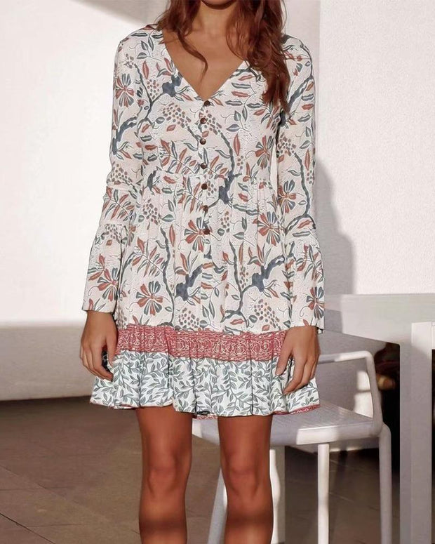 Casual Floral Layered Dress