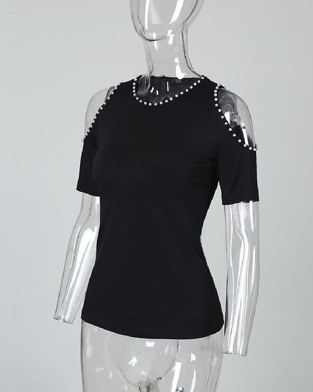 Cold Shoulder Beaded Detail Blouse