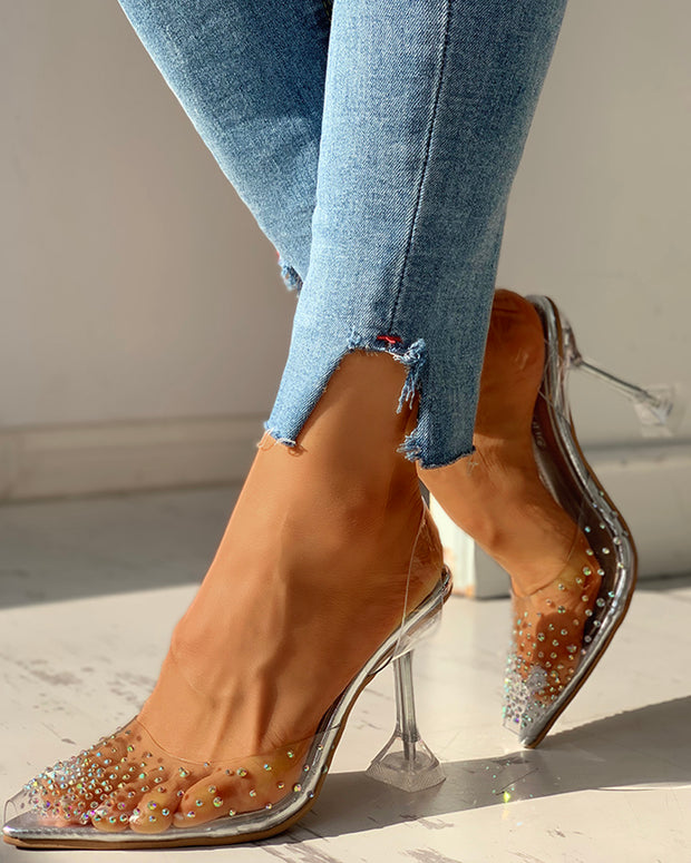 Transparent Studded Pointed Toe Heels