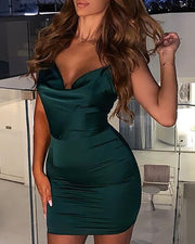 Cowl Neck O-Ring Spaghetti Strap Bodycon Dress