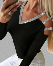Ladder Cutout Glitter Long Sleeve Blouse