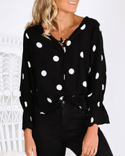 Dot Ruffles Cuff Tied Detail Casual Blouse