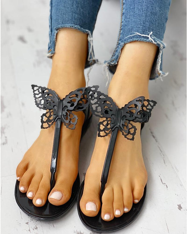 Toe Post Butterfly Design Flat Sandals