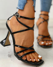 Multi-Strap Lace-Up Thin Heeled Sandals