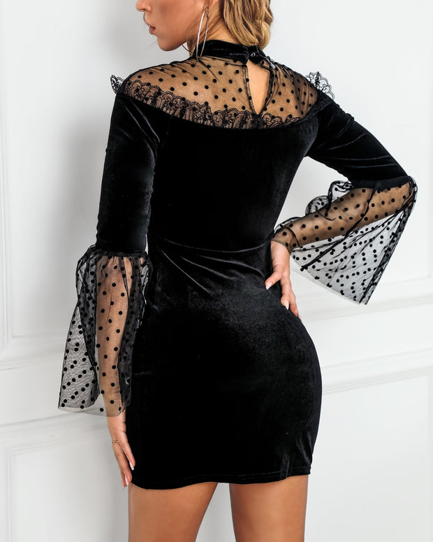 Mesh Dot Lace Hem Bell Sleeve Dress