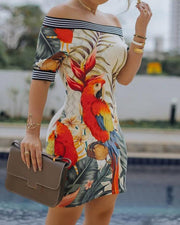 Off Shoulder Bird Pattern Striped Tape Splicing Dress