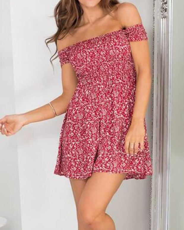 Floral Off Shoulder Smocked Ruffle Mini Dress
