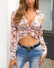 Chain Print Long Sleeve Twisted Front Shirt