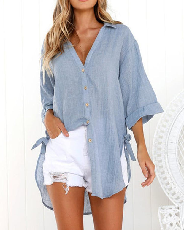 Solid Button Through Knot Side Loose Blouse