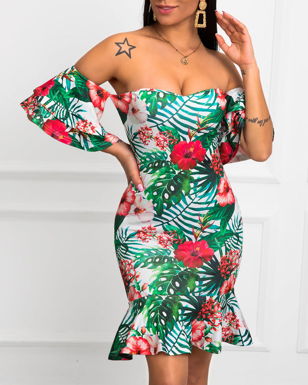 Off Shoulder Tropical Print Ruffles Dress