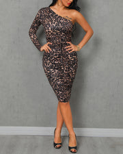 One Shoulder Leopard Print Ruched Bodycon Dress