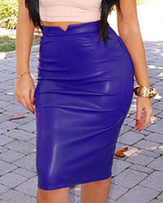 High Waist PU bodycon Skirt