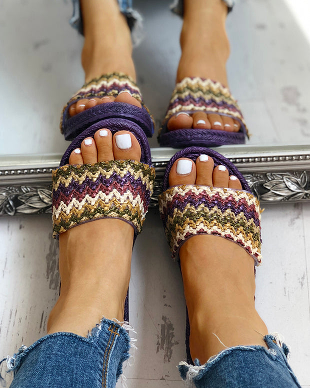Boho Style Braided Flat Sandals