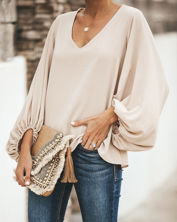 V Neck Puff Long Sleeve Loose Blouse