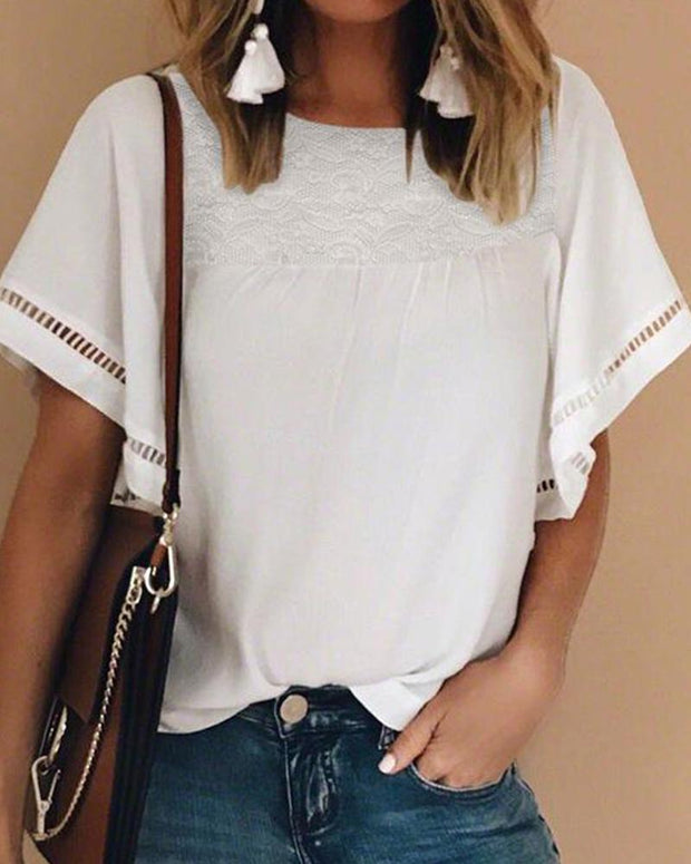 Lace Insert Short Sleeve Top