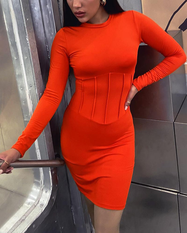 Solid Color Long Sleeve Dress