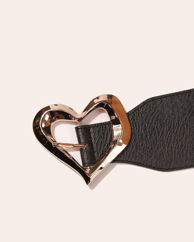 Solid Color Heart Pattern Elastic Belt