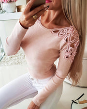 Beaded Hollow Out Ribbed Blouse