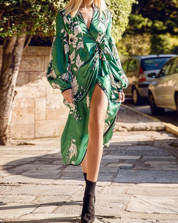 Floral Print Wrap Knot Slit Dress