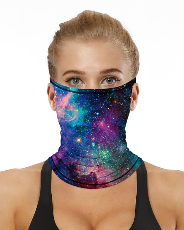 Starry Sky Print Breathable Ear Loop Face Bandana Headwrap