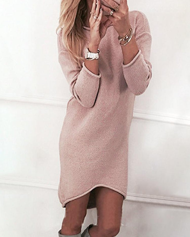 Solid Crew Neck Long Sleeve Casual Mini Dress